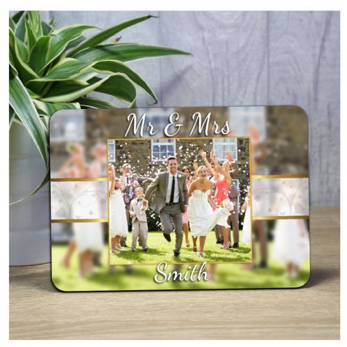 Personalised Wedding Bokeh Wood Photo Panel Print F53